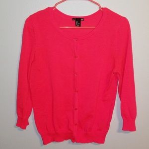 H&M Fluorescent Neon Pink Button Up Cardigan